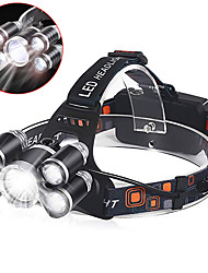 cheap -Headlamps Headlight 800 lm LED 5 Emitters 5 Mode Professional Camping / Hiking / Caving Everyday Use Police / Military White Light Source Color Black