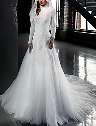 cheap -A-Line High Neck Sweep / Brush Train Tulle Long Sleeve Made-To-Measure Wedding Dresses with Appliques 2020