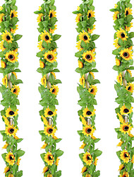 cheap -Artificial sunflower wreath rayon sunflower vine suitable for home garden wedding party decoration