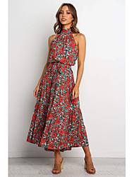cheap -Women's Daily Wear Basic Sheath Dress - Geometric Print Wine S M L XL