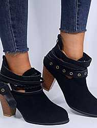 cheap -Women's Boots Block Heel Boots Chunky Heel Round Toe Booties Ankle Boots Daily Suede Buckle Solid Colored Winter Black Red Gray / Booties / Ankle Boots / Booties / Ankle Boots