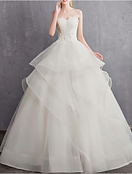 cheap -A-Line Wedding Dresses Strapless Floor Length Tulle Regular Straps with Appliques 2020