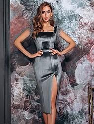 cheap -Women's Velvet Blushing Pink Black Dress Sheath Solid Colored Strap S M Slim