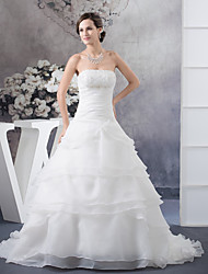 cheap -A-Line Wedding Dresses Strapless Chapel Train Organza Satin Strapless with Ruched Beading Cascading Ruffles 2020