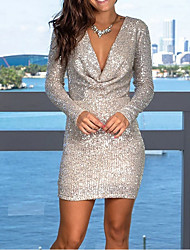 cheap -Sheath / Column Plunging Neck Short / Mini Sequined Dress with Sequin by LAN TING Express