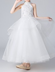 cheap -Ball Gown Floor Length Flower Girl Dress - Polyester Sleeveless Halter Neck with Appliques