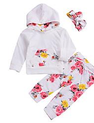 baratos -bebê Para Meninas Moda de Rua Floral Manga Longa Padrão Conjunto Branco