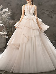 cheap -Ball Gown Wedding Dresses V Neck Floor Length Polyester Regular Straps Glamorous Backless Modern with Cascading Ruffles 2020