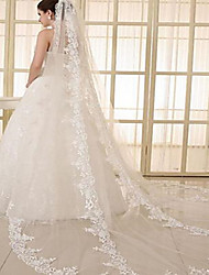 cheap -One-tier Stylish / Elegant & Luxurious Wedding Veil Chapel Veils with Fringe 118.11 in (300cm) Tulle / Angel cut / Waterfall