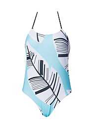 cheap -Women's Basic Light Blue Halter Cheeky High Waist Bikini Swimwear - Floral Geometric Lace up Print S M L Light Blue