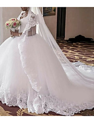cheap -A-Line V Neck Court Train Lace Regular Straps Wedding Dresses with Lace Insert 2020