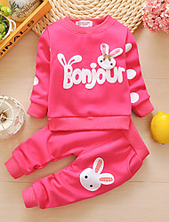 cheap -Baby Girls' Basic Print Print Long Sleeve Long Long Clothing Set Blushing Pink