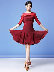 cheap -Women's Flapper Girl Latin Dance Flapper Dress Party Costume Tassel Flapper Costume Tulle Polyester Black Burgundy Dress