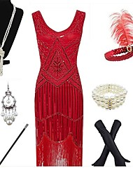 cheap -The Great Gatsby Vintage 1920s 1930s Hepburn Flapper Dress Outfits Party Costume Flapper Headband Women's Tassel Costume Bracelet Black / White / Red Vintage Cosplay Festival Sleeveless / Gloves