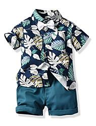 cheap -Baby Boys' Street chic Print Short Sleeve Regular Clothing Set Blue / Toddler