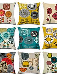 Недорогие -9 шт льняные наволочки, цветочные геометические свадебные моды декоративная подушка