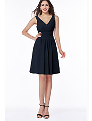 cheap -A-Line Plunging Neck Above Knee Chiffon Bridesmaid Dress with Ruching