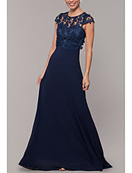 cheap -A-Line Jewel Neck Sweep / Brush Train Chiffon Elegant Formal Evening Dress with Lace Insert 2020