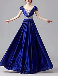 cheap -A-Line Plunging Neck Floor Length Satin Dress with Sequin / Crystals by LAN TING Express