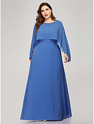 cheap -Sheath / Column Plus Size Formal Evening Dress Jewel Neck Long Sleeve Floor Length Chiffon Polyester with Crystals 2020