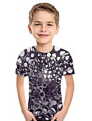 cheap -Kids Boys' Active Street chic Geometric 3D Patchwork Print Short Sleeve Hoodie & Sweatshirt Purple