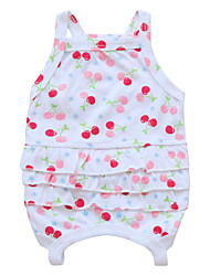 cheap -Dog Jumpsuit Dog Clothes White Fuchsia Green Costume Cotton Print Cosplay XS S M L
