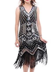 cheap -Latin Dance Dresses Women's Performance Terylene Beading / Tassel / Split Joint Sleeveless Dress