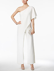 cheap -Jumpsuits One Shoulder Ankle Length Jersey Bridesmaid Dress with Ruffles