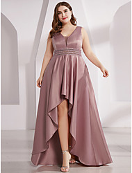 cheap -A-Line Plunging Neck Asymmetrical Polyester Pastel Colors Prom Dress with Sash / Ribbon / Ruffles 2020