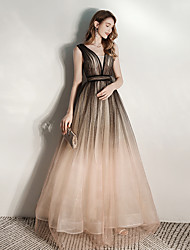 cheap -A-Line V Neck Floor Length Tulle Dress with Sequin by LAN TING Express