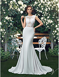 cheap -Mermaid / Trumpet Jewel Neck Court Train Polyester Regular Straps Sexy Wedding Dresses with Appliques 2020