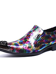 cheap -Men's Novelty Shoes Nappa Leather Spring & Summer / Fall & Winter Classic / British Loafers & Slip-Ons Non-slipping Rainbow / Party & Evening / Party & Evening / Dress Shoes / Moccasin