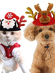 cheap -Dog Cat Hats, Caps & Bandanas Hair Accessories Bandanas & Hats Winter Dog Clothes Gold Red Costume Husky Corgi Beagle Polyester Christmas Reindeer Party Headpieces M