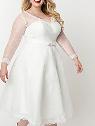 cheap -A-Line Wedding Dresses V Neck Knee Length Lace Satin Tulle Long Sleeve Vintage Little White Dress 1950s Illusion Sleeve with Bow(s) Appliques 2020