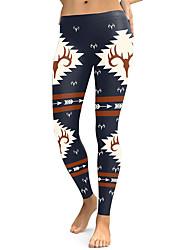 cheap -Women's Dailywear / Yoga Sporty / Basic Legging - Geometric, Print Mid Waist Blue Navy Blue S M L