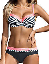 cheap -Women's Bikini Swimwear Swimsuit - Striped S M L Blue Yellow Blushing Pink Orange Light Green