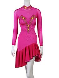 cheap -Latin Dance Dresses Women's Training Spandex Cascading Ruffles / Split Joint Long Sleeve High Dress
