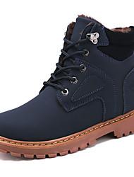 cheap -Men's Combat Boots Microfiber Winter Casual / British Boots Walking Shoes Warm Black / Yellow / Blue