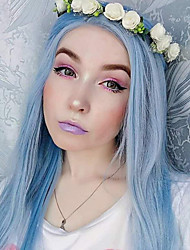 cheap -Synthetic Lace Front Wig Natural Straight Free Part Lace Front Wig Long Sky Blue Synthetic Hair 18-24 inch Women's Cosplay Heat Resistant Party Blue