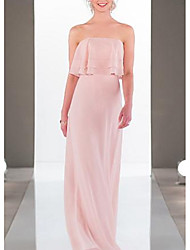 cheap -A-Line Strapless Floor Length Chiffon Bridesmaid Dress with Cascading Ruffles / Open Back