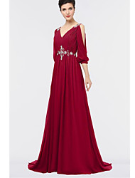 cheap -A-Line Plunging Neck Sweep / Brush Train Chiffon Elegant Formal Evening Dress with Crystals / Pleats 2020
