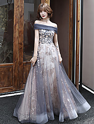 cheap -A-Line Off Shoulder Floor Length Tulle Sparkle / Grey Prom / Formal Evening Dress with Sequin / Appliques 2020