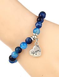 cheap -Women's Clear Blue Pink Bead Bracelet Vintage Bracelet Earrings / Bracelet Beaded Alphabet Shape Weave Simple Classic Vintage Trendy Fashion Stone Bracelet Jewelry Brown / White / Blue For Gift Daily