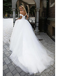 cheap -Ball Gown Off Shoulder Chapel Train Tulle Short Sleeve Wedding Dresses with 2020