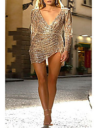 cheap -Women's Party Homecoming Basic Mini Sheath Dress - Solid Colored Sequins Deep V Gold S M L XL