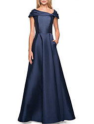 cheap -A-Line Mother of the Bride Dress Elegant & Luxurious Bateau Neck Floor Length Satin Short Sleeve with Ruching 2021