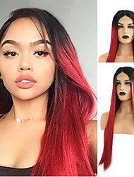 cheap -Synthetic Lace Front Wig Natural Straight Middle Part Lace Front Wig Long Black / Red Synthetic Hair 18-24 inch Women's Adjustable Heat Resistant Synthetic Red Ombre / Natural Hairline