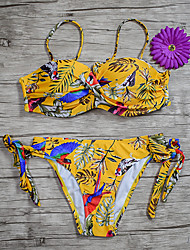 cheap -Women's Basic Purple Army Green Yellow Underwire Cheeky High Waist Bikini Swimwear - Floral Geometric Lace up Print S M L Purple