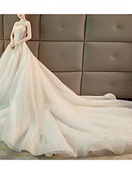 cheap -A-Line Strapless Chapel Train Polyester Strapless Wedding Dresses with Beading 2020