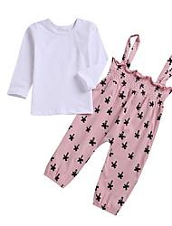 baratos -bebê Para Meninas Moda de Rua Estampado Manga Longa Padrão Conjunto Rosa